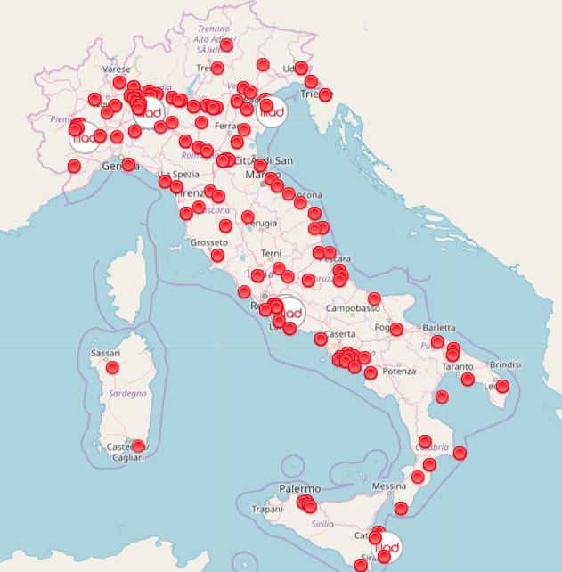 mappa italia negozi iliad al 22 giugno 2018